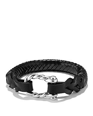David Yurman Maritime Leather Woven Shackle Bracelet In Black