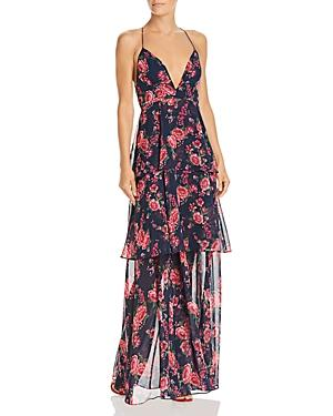 Fame And Partners Wyatt Floral Tiered Gown