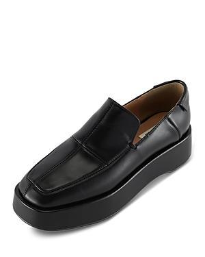 Reike Nen Women's Square Toe Cross Stitch Detail Leather Platform Loafers