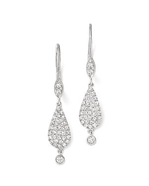 Meira T 14k White Gold And Pave Diamond Teardrop Earrings