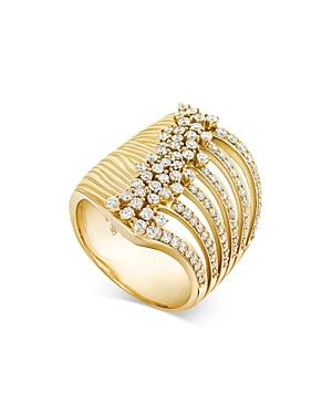 Hueb 18k Yellow Gold Bahia Diamond Multirow Cluster Ring