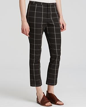 Free People Plaid Cropped Pants