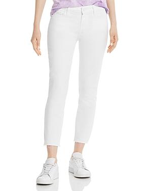 Paige Skyline Crop Skinny Raw-hem Jeans In Lived In Crisp White