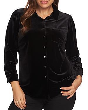 1.state Plus Velvet Button-down Shirt