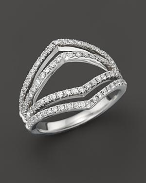 Diamond Geometric Ring In 14k White Gold, .75 Ct. T.w.