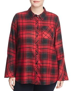 Vince Camuto Plus Stateside Bell Sleeve Plaid Shirt