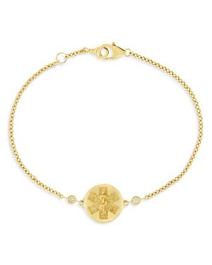 Bloomingdale's Diamond Accent Medical Medallion Bracelet In 14k Yellow Gold, 0.05 Ct. T.w. - 100% Exclusive