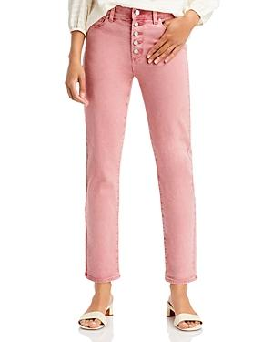 Paige Cindy Straight Button Fly Jeans In Soft Vintage Rose
