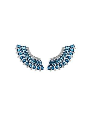 Hueb 18k White Gold Mirage Blue Topaz & Diamond Statement Earrings