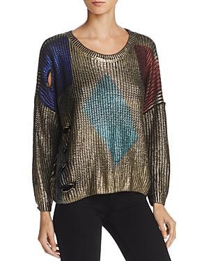 Molly Bracken Metallic Cutout Sweater