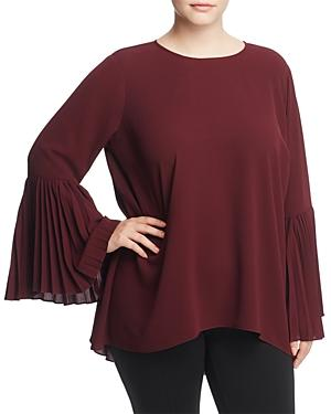Vince Camuto Plus Pleated Bell Sleeve Blouse