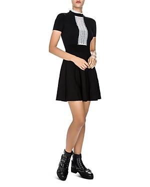 The Kooples Contrast-color Mesh-inset Dress