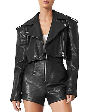 Grlfrnd Samara Cropped Leather Moto Jacket