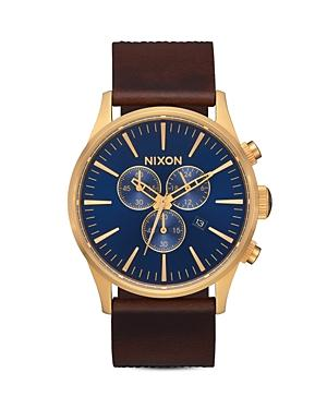 Nixon The Sentry Leather Strap Chronograph, 42mm