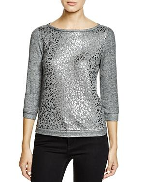 Three Dots Natalie Metallic Leopard Print Sweatshirt