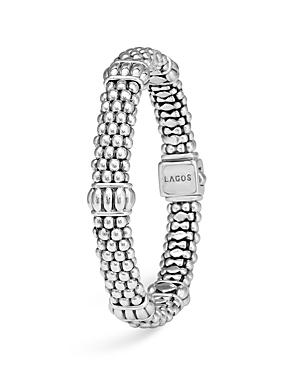 Lagos Sterling Silver Signature Caviar Fluted Station Bracelet