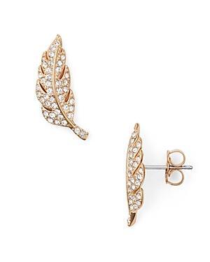 Nadri Pave Feather Stud Earrings