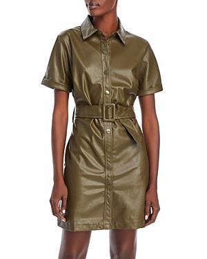 Lucy Paris Snap Front Faux Leather Dress