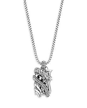 John Hardy Sterling Silver Legends Naga Silver Dog Tag Pendant Necklace With Blue Sapphire, 24