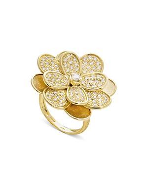 Marco Bicego 18k Yellow Gold & Diamond Petali Pave Floral Ring