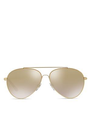 Burberry Mirrored Check Aviator Sunglasses, 57mm