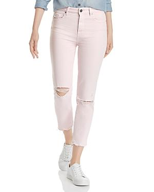 Paige Hoxton Slim Crop Destructed Jeans In Vintage Pink Mirage