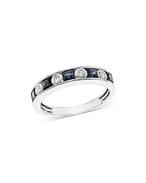 Bloomingdale's Sapphire & Diamond Channel Band In 14k White Gold - 100% Exclusive