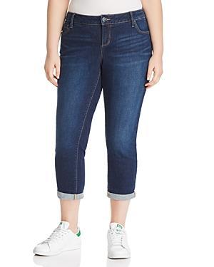 Slink Jeans Plus Roll-cuff Boyfriend Jeans In Amber Wash