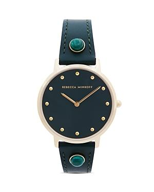Rebecca Minkoff Major Green Leather Strap Watch, 35mm
