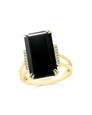 Black Onyx And Diamond Statement Ring In 14k Yellow Gold - 100% Exclusive