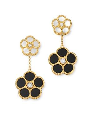 Roberto Coin 18k Yellow Gold Mixed Daisy Mother-of-pearl, Onyx & Diamond Flower Drop Earrings - 100% Exclusive