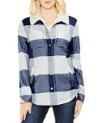 Vince Camuto Buffalo Check Faux Shearling Jacket