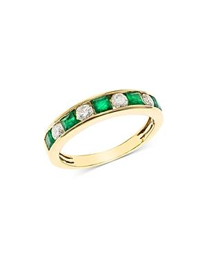 Bloomingdale's Emerald & Diamond Channel Band In 14k Yellow Gold - 100% Exclusive