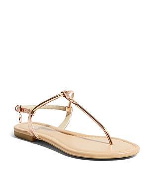 Karen Millen Women's Metallic Leather Thong Sandals