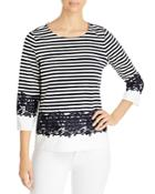 Karl Lagerfeld Paris Lace Inset Striped Top