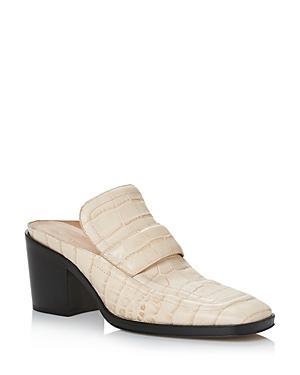 Bottega Veneta Women's Square Toe Block Heel Embossed Leather Loafers