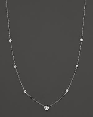 Diamond Station Necklace In 18k White Gold, 1.0 Ct. T.w.