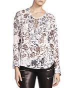 The Kooples Printed Lace-up Top