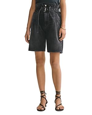 Agolde Cotton Belted Denim Shorts In Pave