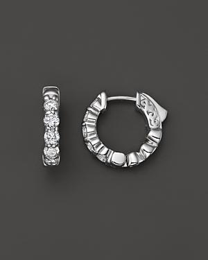 Diamond Hoop Earrings In 14k White Gold, 1.0 Ct. T.w.