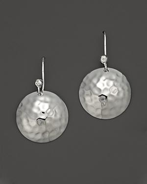 Ippolita Medium Hammered Sterling Silver Dome Disk Earrings With Diamond