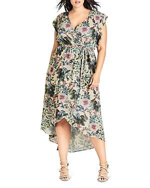 City Chic Plus Floral High-low Dress