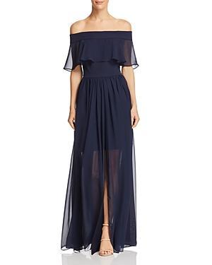 Aqua Off-the-shoulder Chiffon Dress - 100% Exclusive