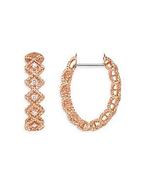 Roberto Coin 18k Rose Gold Roman Barocco Diamond Oval Hoop Earrings