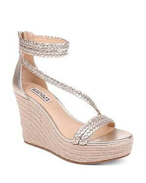 Badgley Mischka Women's Lita Metallic Leather Wedge Espadrille Sandals