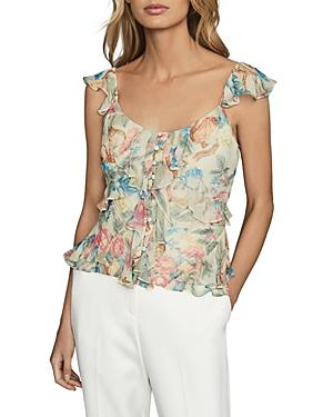 Reiss Lana Floral Print Ruffled Top