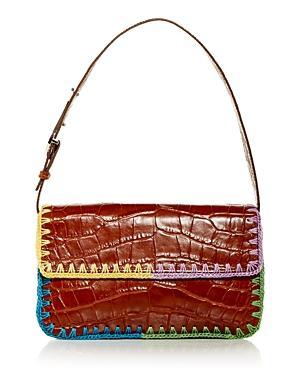 Staud Tommy Croc Embossed Crochet Edge Shoulder Bag