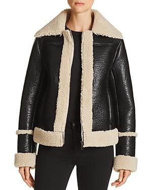 Mother The Boxy Faux Shearling Moto Jacket