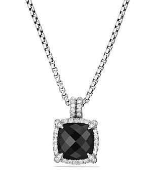 David Yurman Chatelaine Pave Bezel Pendant Necklace With Black Onyx And Diamonds