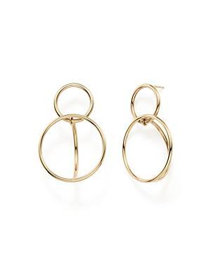 14k Yellow Gold Double Circle Drop Earrings